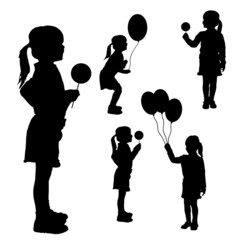 Vector silhouettes of girls with balloons.