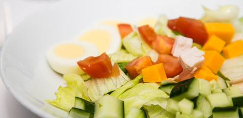 Salad with Cheese Tomato and Boiled Egg