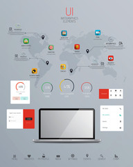 UI Infographics elements with icons. Vector