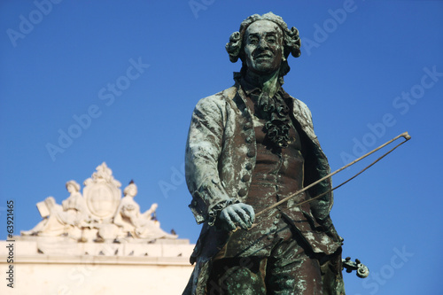 Old statue of Giuseppe Tartini in Piran, Slovenia