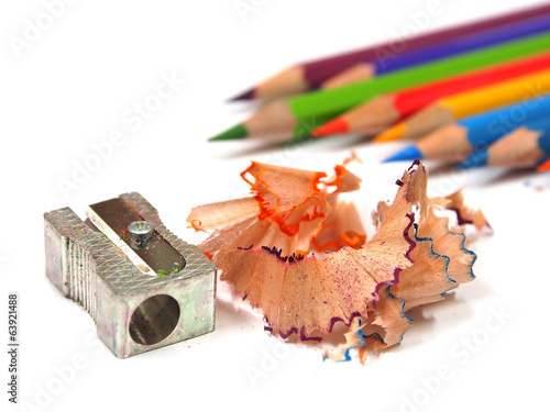 color pencils shavings on white background