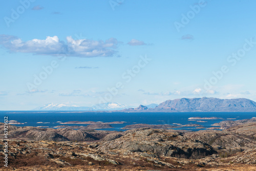 Empty Norwegian coastal landscape with sea, sky and mountains