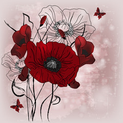 Artistic poppies composition with space for text