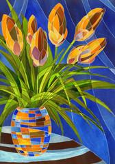Abstract orange flowers in vivid mottled vase