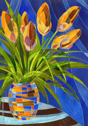 Abstract orange flowers in vivid mottled vase