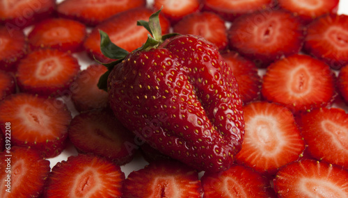 strawberry heart-shaped strawberry slices on