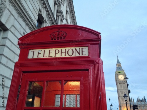 Red Telephone Booth and Big Ben in London, UK. - 63922259