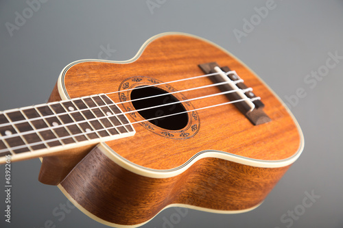 Close-up shot of classic ukulele guitar