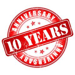 10 years anniversary stamp.