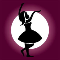 A beautiful silhouette of dancing girl