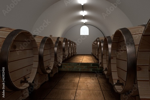 realistic 3d render of cellar