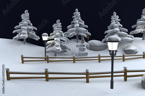 realistic 3d render of winter scene