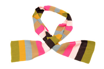 Striped scarf for winter. Cute colorful scarf isolated on white.