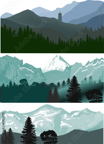 three landscapes with mountaines