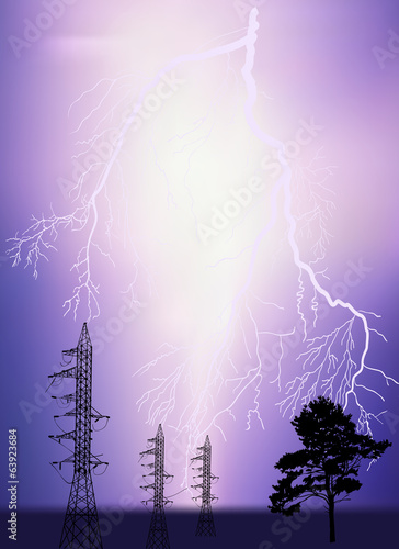 three electrical pylons and tree under lightning