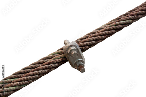 Wire rope with a lock wire rope on a white background.