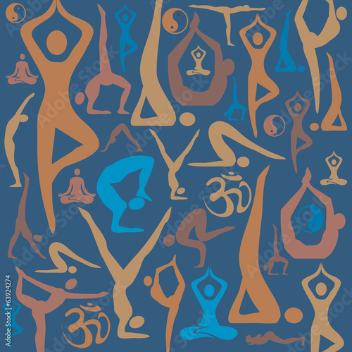 Yoga icons decorative background