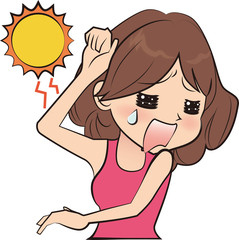太陽を避ける女性