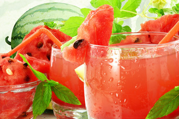 watermelon juice and watermelon