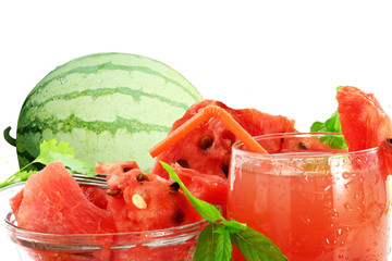 watermelon juice with watermelon in white background