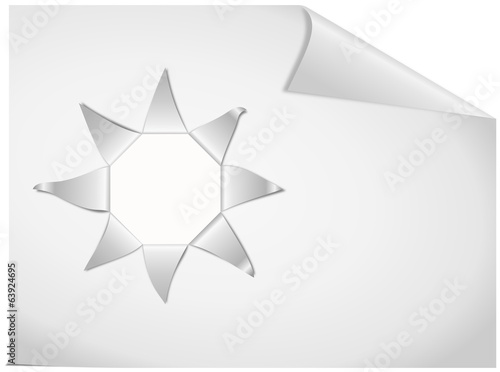 White paper sheet with stellate ripped strips and place for text