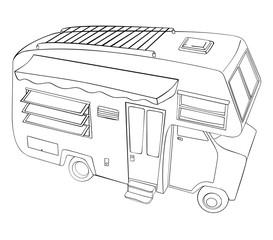 comic style camper van