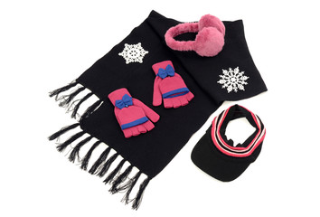 Black wool scarf with matching pink gloves,visor hat and earmufs