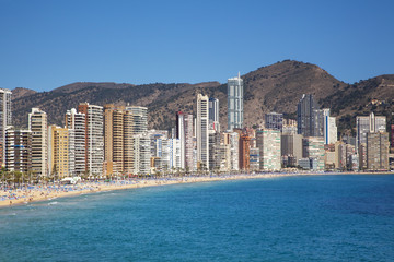 Benidorm, Play de Levante, under blue skies, Costa Blanca, Spain