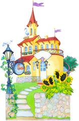 Watercolor picture. Fairytale castle mansion