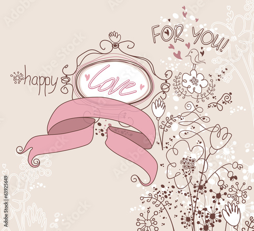 Retro card with ribbon, love and flowers.