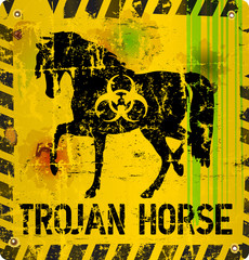 computer virus trojan horse alert sign, vector illustration
