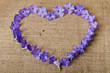 Blue flowers in a shape of a heart on burlap background