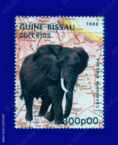 stamp, fauna, Africa, savanna, elephant