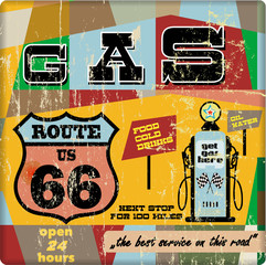 vintage gas station sign on the route 66, vector eps 10
