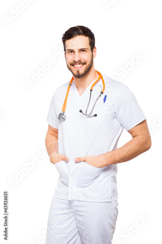 Handsome male doctor isolated