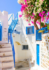 typical cycladitic scene in Langada of Amorgos island in Greece