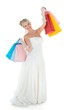 Bride carrying shopping bags over white background