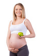 Pregnant woman with apple.