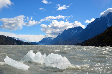 Glacier ice in Lago Grey, Torres del Paine
