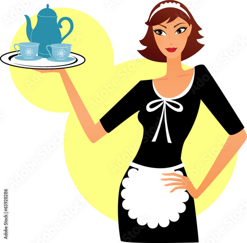 Woman maid holding a tray with tea pot and cups