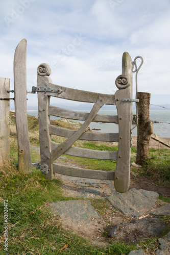 Gateway to beach on LLanddwyn Island Anglesey, Wales. UK.