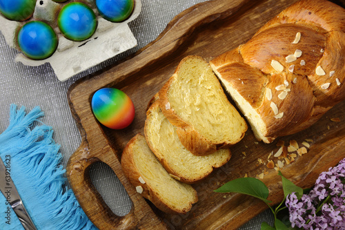 Easter sweet brioche and colored eggs