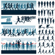 Vector editable labels and silhouettes of running people - 63929031