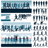 Fototapety Vector editable labels and silhouettes of running people