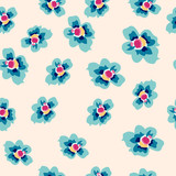 colorful blue flowers seamless pattern - 63929054