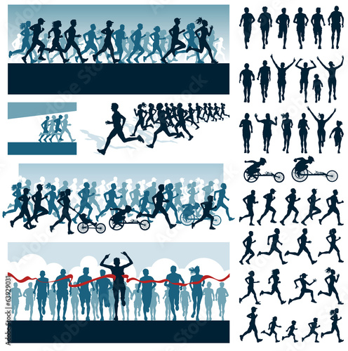 Vector editable labels and silhouettes of running people