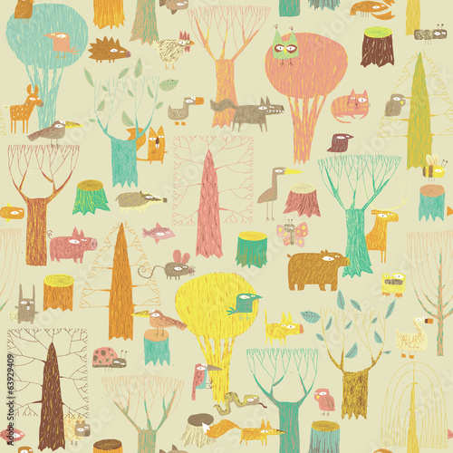 Grunge Woodland Animals seamless pattern