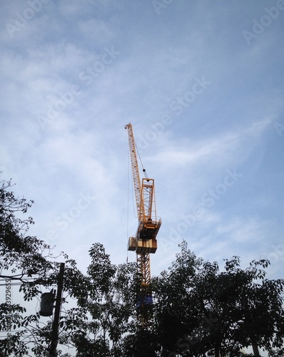 high crane in blue sky