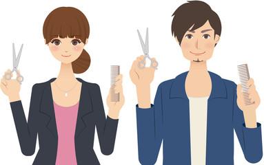 美容師(スタイリスト)の男性と女性