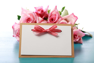 Handmade card with pink roses